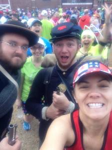 "Pre race ""selfie"" with my friends and some of the re-inactment crew  and yes my friends photobomb very well :)"
